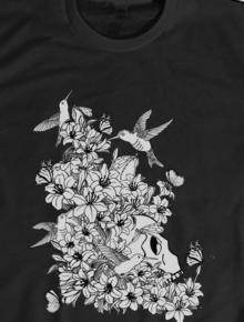 hummbingbird and skull,skull, flower, dark, bird,