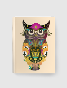 Decorative Owl Notebook,owl, burung, hantu, decorative, decor, beautiful, ornament, pattern, sulur, ivy, retro, vintage, mystic, notebook, journal, notes
