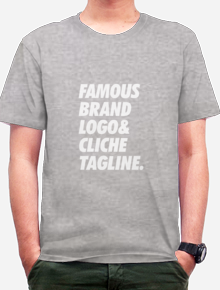Famous Brand,tipografi, typography, shirt. funny. humor, word, quote,wordplay,simple,parody