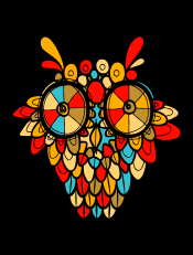 Hoot,owl, hoot, colorful