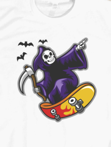 Grim Skater,grim, skater, skateboard, reaper, skull, horror, vector art, pop art