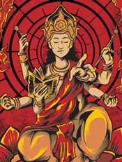 Betara Six Hand,illustrasi,Mythologi,dewa,kuas,seni,tangan,enam,lotus,teratai